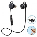 Comsoon Bluetooth Headphones, [Magnet Attraction] [Adjustable Ear Hook]Wireless V4.1 In-ear Sports Earbuds Noise Cancelling Sweatproof Stereo Headset Earphones with Micphone (Black)