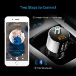Comsoon Bluetooth FM Transmitter, Car Bluetooth MP3 Player Wireless Radio Adapter with Dual USB Charging Ports 5V/2.4A, HandsFree Car kits Bluetooth Receiver for iPhone Androit (Silver)
