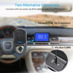 Comsoon Bluetooth Car Receiver, Wireless FM Transmitter Radio Adapter Hands free Car Kit with Mic, Dual USB Car Charger 5V/2.1A, 3.5mm AUX Cable, Echo & Noise Reduction and Magnetic Mounts