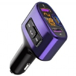Bluetooth FM Transmitter, Comsoon Wireless Radio Adapter Receiver Car Kit with 18W USB Type-C Car Charger Port & 5V/2.4A Dual USB Ports, Support USB Flash Drive, Hands-Free Calling (Purple)